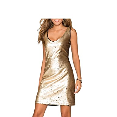 Amazon.com: CannerCA Fashion Dress Black & Gold Dress Women Sequined Skinny Sleeveless Sheath Party /Club Bandage Dress Vestidos 8600: Clothing