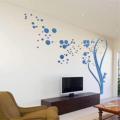 f3ddaa7a71 MEILIDONGREN 3D Large Size Round Dots Tree Wall Stickers Home Decor Living  Room Art Background Acrylic
