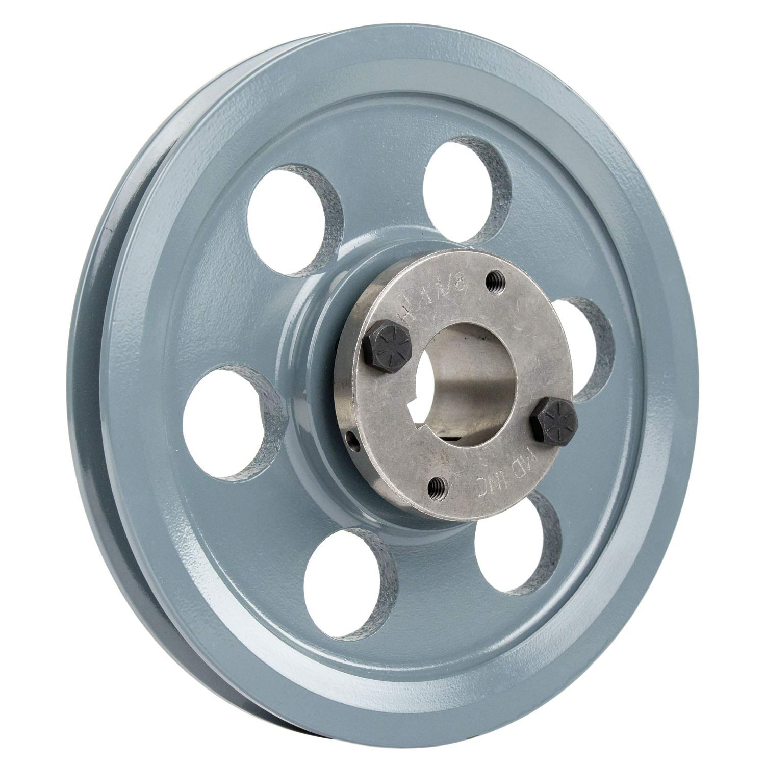 """Cast Iron 7.75/"""" Single 1 Groove Belt A Section 4L Pulley w 1-3//8/"""" Sheave Bushing"""
