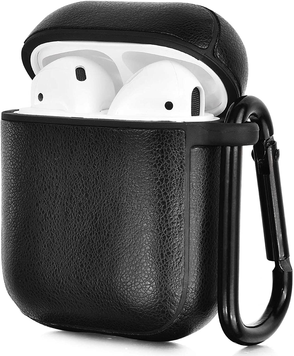 CAGOS Compatible with Airpods Case, Premium Leather Airpods Protective Cover Case for Apple AirPod 2&1 Earphones Charging Case Black