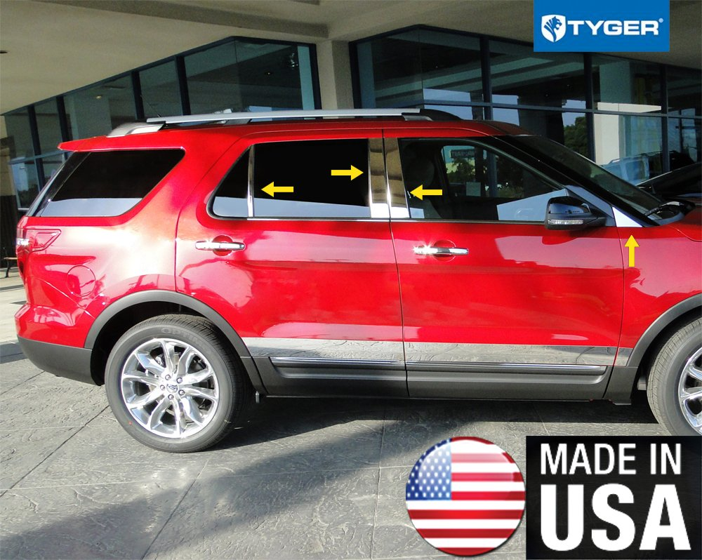 Made In USA! Works With 2011-2019 Ford Explorer 8PC With Mirror Piece No Keypad Cutout Stainless Steel Chrome Pillar Post Trim MaxMate