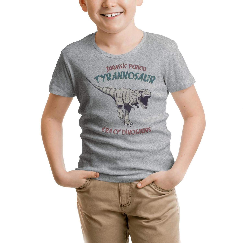 Surfer Dinosaur Rides on Surfboard Children T-Shirts Cotton Jersey Short Sleeve