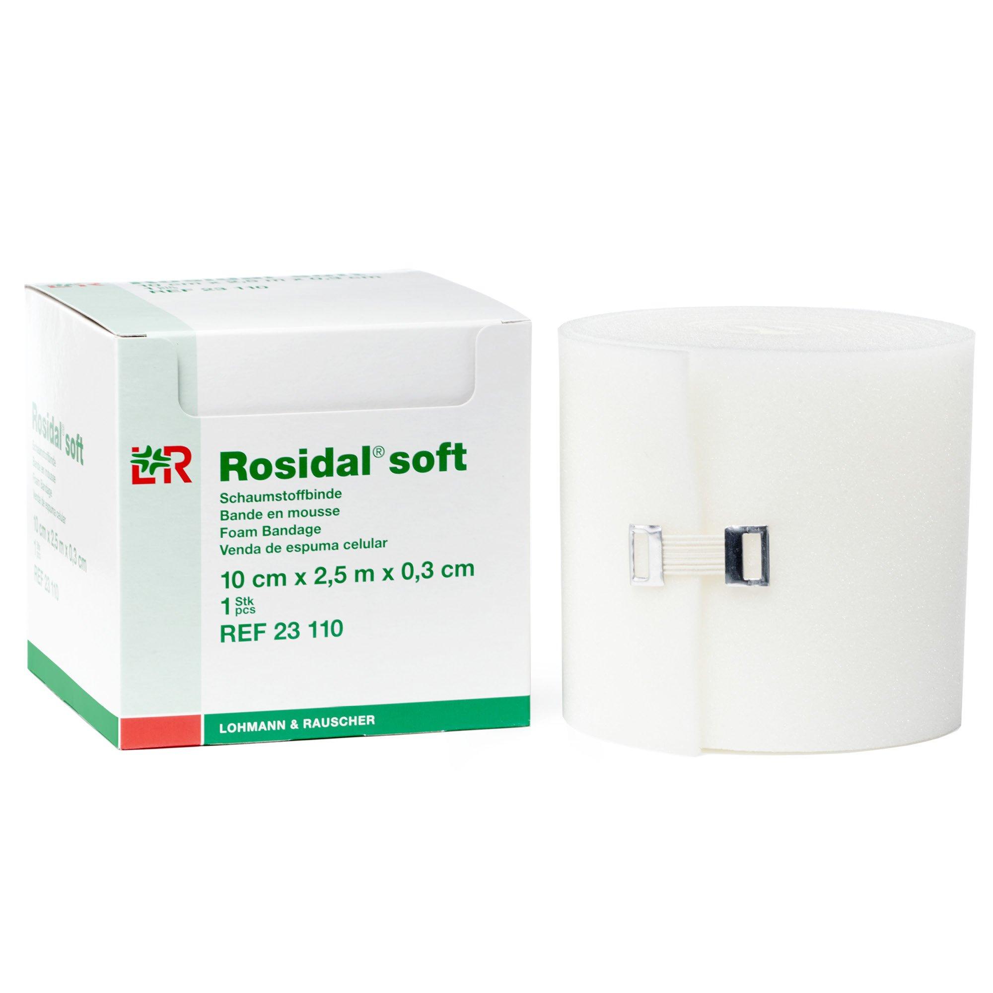Rosidal Soft Foam Padding, Foam Dressing & Lymphedema Padding for Compression Distribution, 10 cm x .3 cm x 2.5 m, Case of 30 Rolls