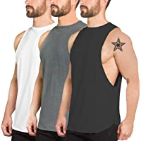 f939ded524cec PAIZH Men s Fitted Muscle Cut Workout Tank Tops Gym Bodybuilding T-Shirts