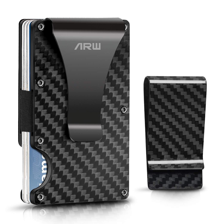 Carbon Fiber wallet, Minimalist money clip slim metal wallet credit card holder men billfolds front pocket RFID Blocking wallet male EDC wallet by ARW
