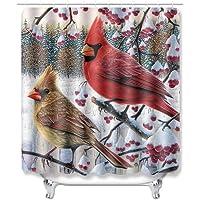 "Custom Personalized Bathroom Shower Curtain Cardinal 100% Polyster Fabric 60"" W x 72"" L"
