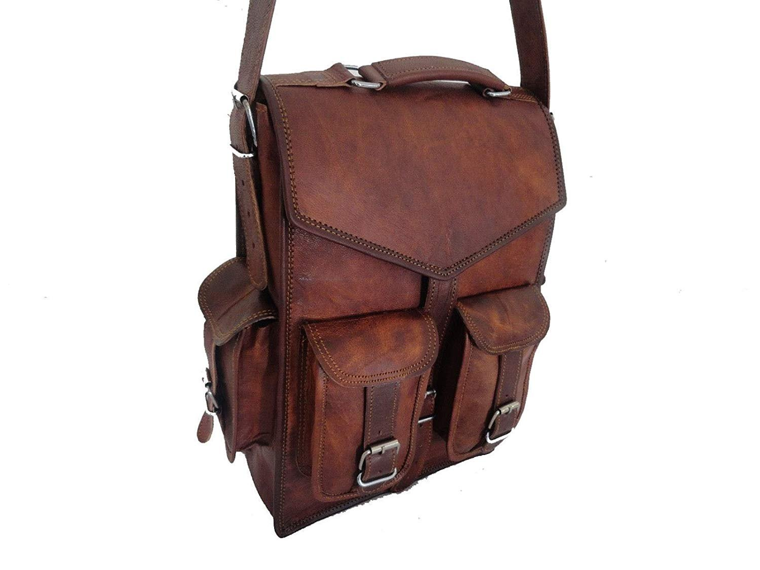 New Handmade Craft Vintage Genuine 2 IN 1 Leather Back Pack Travel Bag Men's and Women's ANUENT