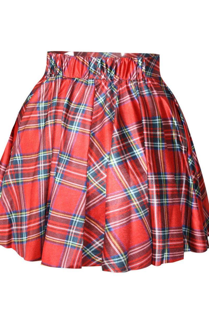 Nuevas señoras rojo Plaid cuadros tutú mujer ropa Club Wear desgaste del verano faldas de colegiala tamaño 10–12