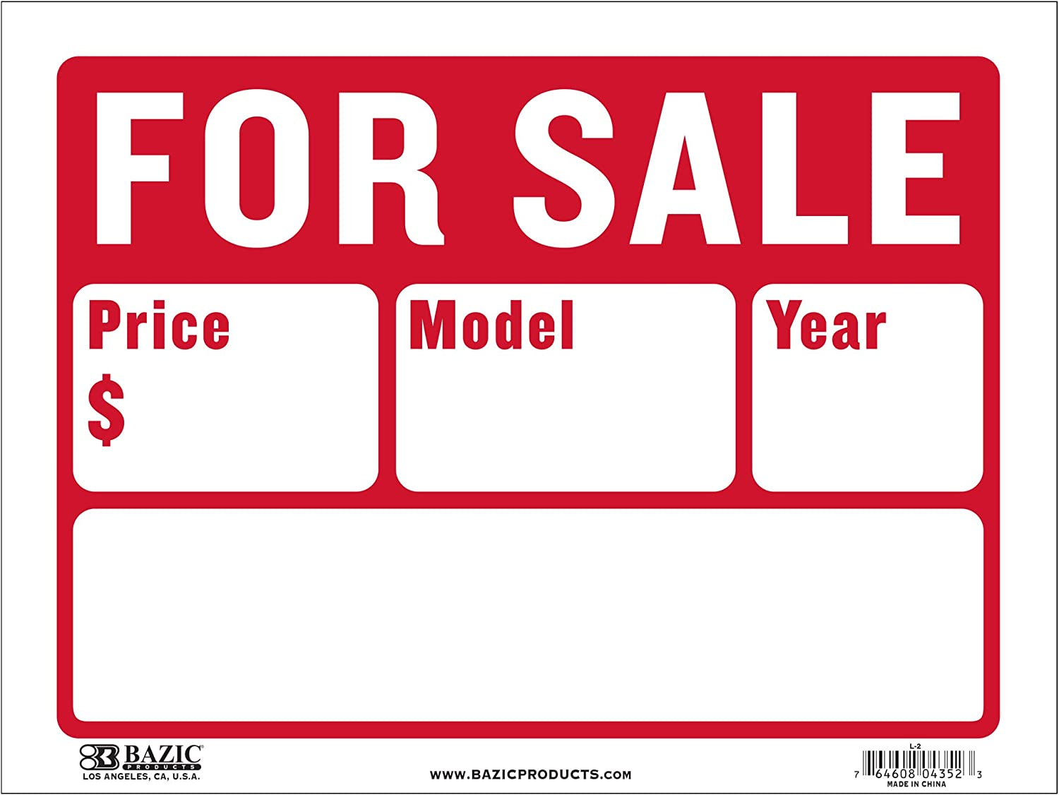 Waterproof Indoor Outdoor Advertising Signage BAZIC 12 X 16 Garage Sale Sign Wall Door Border Yard Sale for Sale Retail Store Policy Business Plastic Sign