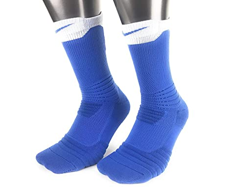 7f6f4b853ee74 Nike Elite Versatility Dri-Fit Cushioned Crew Basketball Socks (Blue/White)  Mens (X-Large)