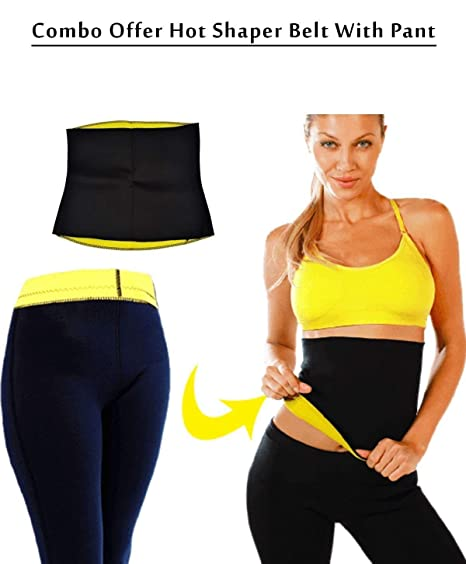 ea9426bb9ee1a Stylish Step Combo Hot Shaper Waist Pants and Hot Shaper Slimming Belt for  Man   Women  Amazon.in  Sports