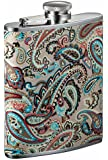 Visol Serenora Paisley Patterned Flask for Women, 6-Ounce, Silver
