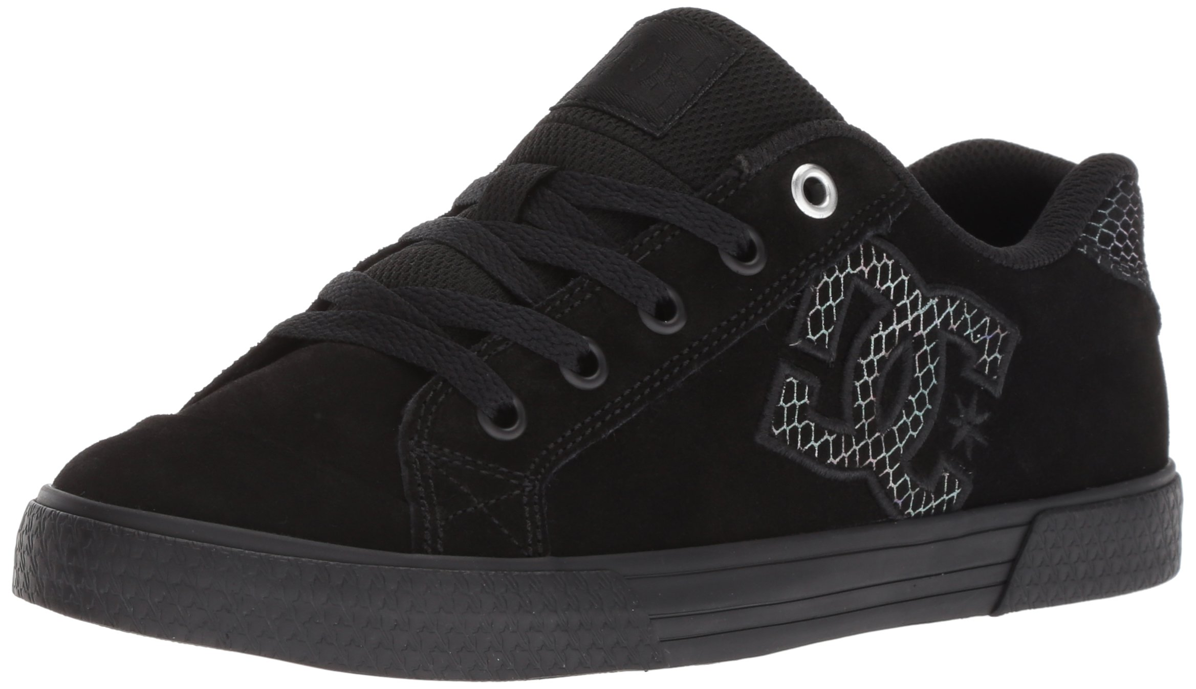 DC Women's Chelsea SE Skate Shoe, Black/Silver/Black, 7 Medium US
