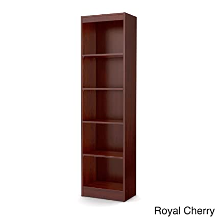 Tall Skinny Bookshelf Royal Cherry 5 Shelf Narrow Bookcase