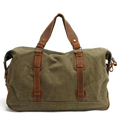 8db5e5f553 Duffel Bag with Pocket at Back Canvas Genuine Leather Messenger Bag for  Women