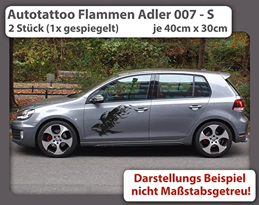 Autotattoo Flammen Adler 007 S 2 Stück 1x Gespiegelt Je 40cm X 30cm Auto Aufkleber Auto