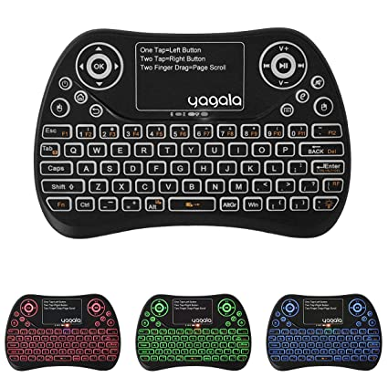 488929eea23 YAGALA Backlit Mini Wireless Keyboard with Touchpad 2.4G Rechargeable  Backlit Handheld Remote Control Keyboard and