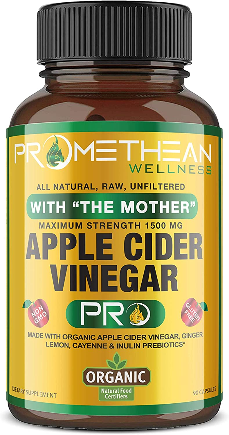 Certified Organic Apple Cider Vinegar Capsules Pro with Mother Acv Pills Detox Cleanse Appetite Control Heartburn Blood Pressure Sugar Glucose Support Supplement Ginger Root Cayenne Pepper Powder