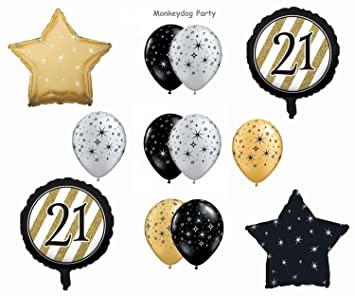 12 Pc BALLOON Set 21st BIRTHDAY Black GOLD Classy ELEGANT Party DECORATIONS