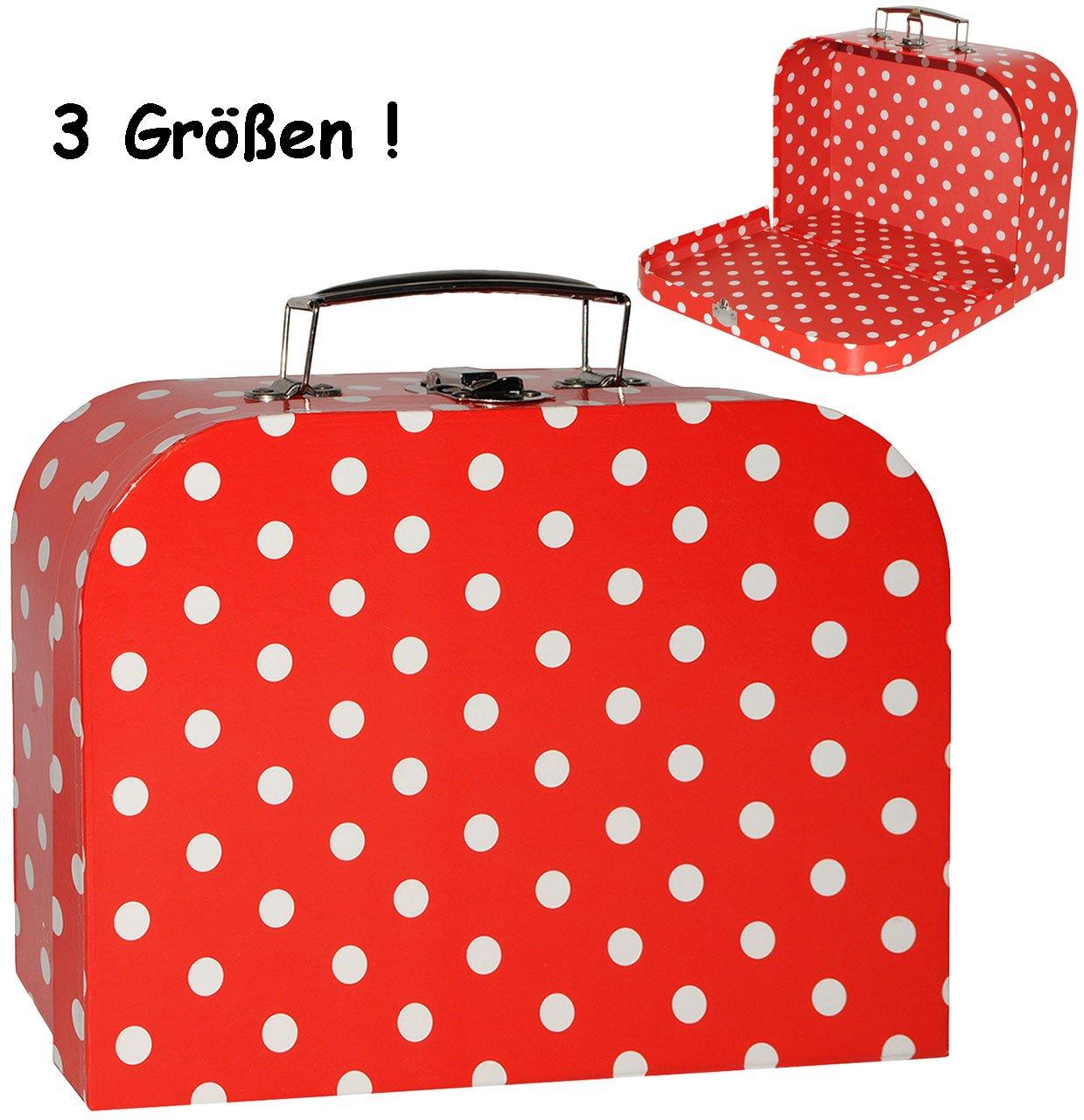 alles-meine.de GmbH 3 Stück _ Koffer / Kinderkoffer - in 3 Verschiedenen Größen - Punkte - rot & weiß - incl. Name - Kofferset - ideal für Spielzeug und als Geldgeschenk - Mä..
