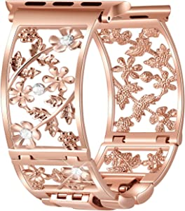 Duoan Floral Band Compatible with Apple Watch Band 38mm 40mm 42mm 44mm iWatch Bands Series 6 5 4 3, Bling Crystal Bracelet Hollow Metal Cuff Dressy, Chic Women Jewelry Wristband (42mm/44mm Rose Gold)