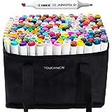 168 Set Color TOUCHNEW Alcohol Art Dual Tip Sketch Pen Art Sketch Twin Tip Marker Pen Set + Pencil Bag (General Design 168-White)