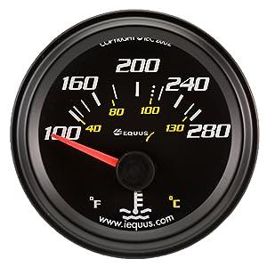 """Equus 6262 2"""" Electrical Water Temperature Gauge, Black"""