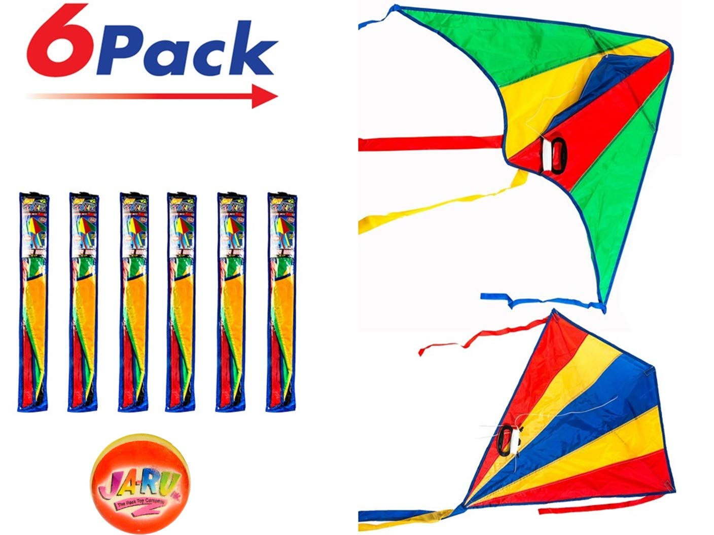 2CHILL Delta Kite Nylon Large in Bulk (Pack of 6) Made by JA-RU Plus 1 Bouncy Ball - Easy to Assemble, Launch, Fly - Premium Quality 9877-6p (Pack of 6 Kites) by 2CHILL