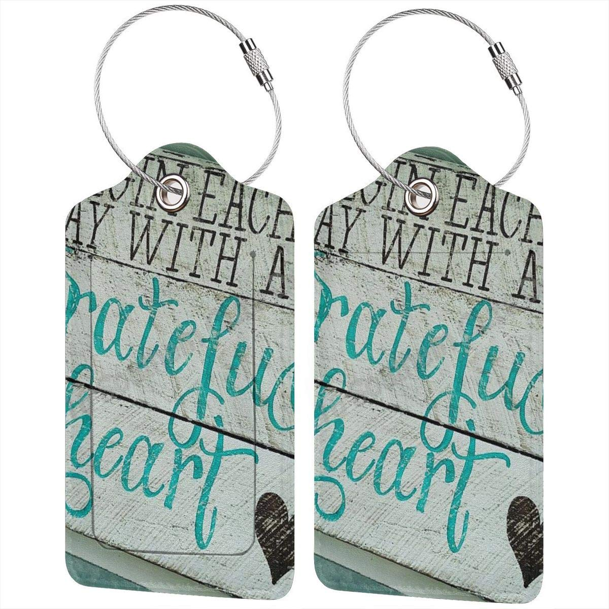 Leather Luggage Tag Begin Each Day With A Grateful Heart Quotes Luggage Tags For Suitcase Travel Lover Gifts For Men Women 4 PCS