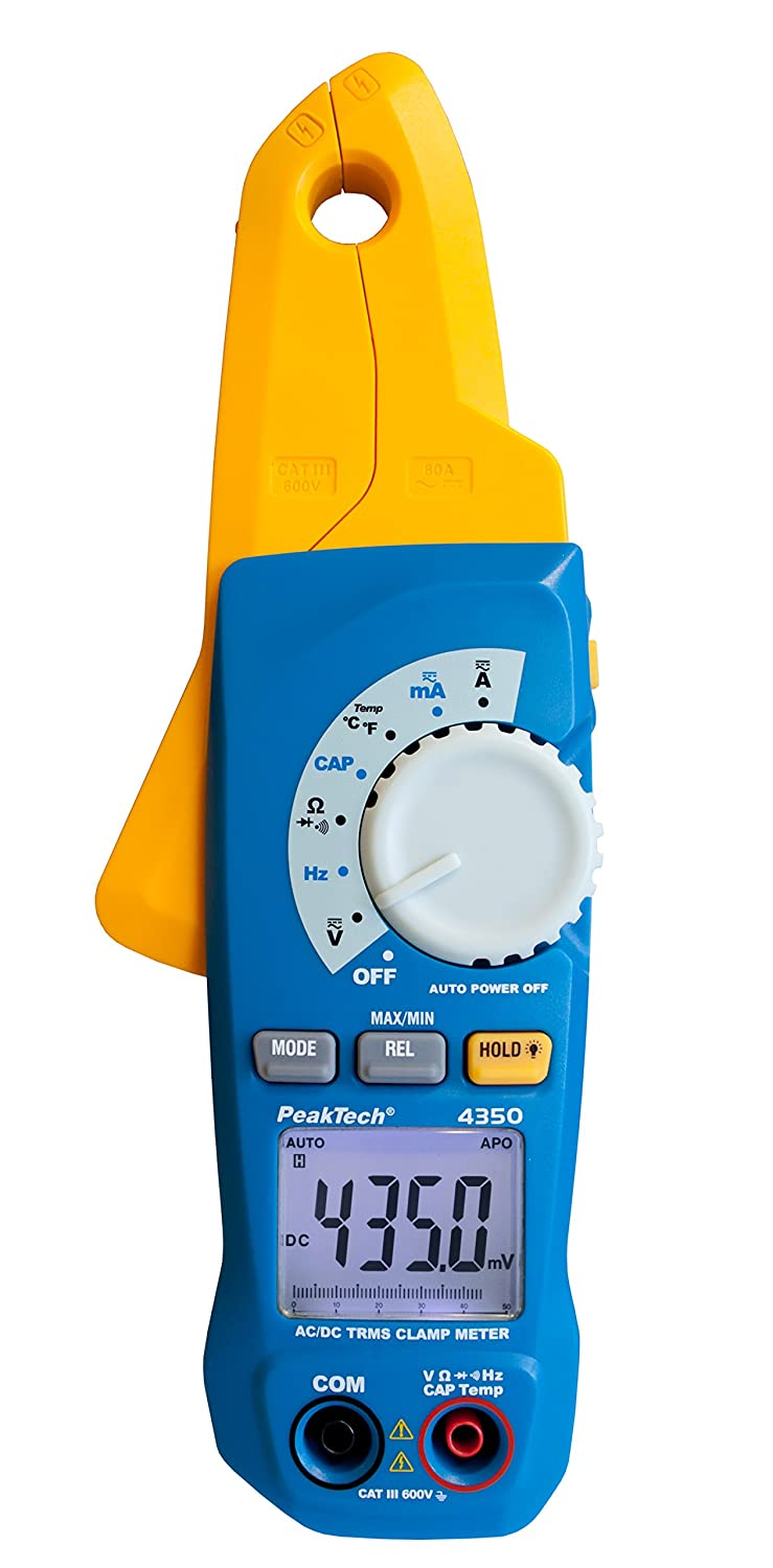 Peaktech 4350 True Rms Current Clamp 80a Ac Dc Digital Multimeter Clamp Meter Clamp Meter Auto Orange 4000 Counts Non Contact Voltage Meter Current Meter Continuity Tester Max 600v Business Industry Science