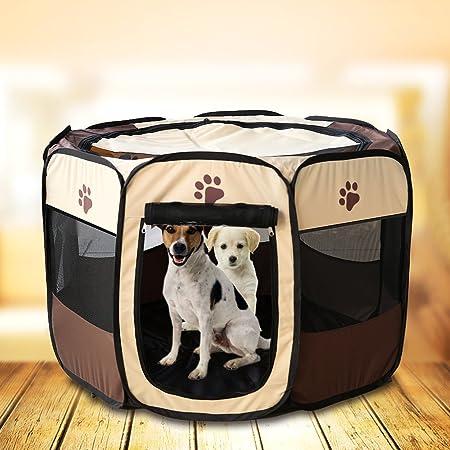 Jaula estilo parque para mascotas de Meiying, ideal para perros y gatos, portátil, plegable, caseta de ejercicio, para uso en interiores y exteriores: ...