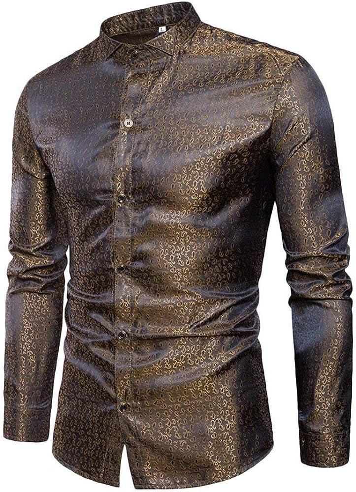 Lannister Fashion Camisa De Los Hombres del Estilo del Club Basic Nocturno Hombres para Hombre Largo Funky Impresa Camisa Ocasional Slim Fit Mens Apparel Blusa Tops Camisa (Color : Oro, Size :