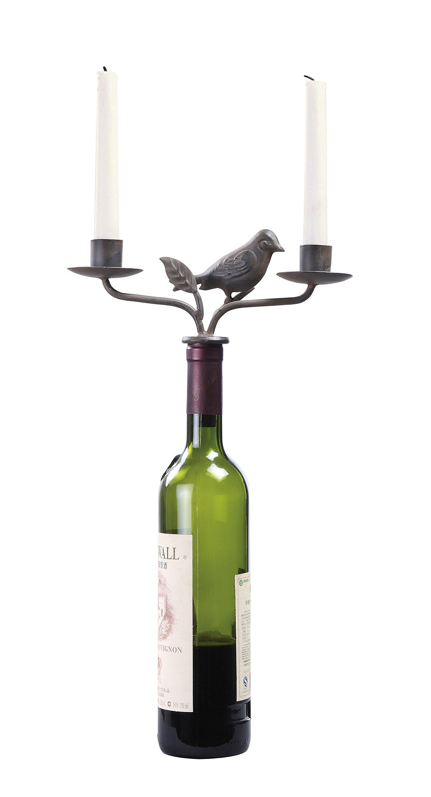 Creative Co-op HD5956 Bird Wine Stopper with Two Taper Holders, Rust Metal