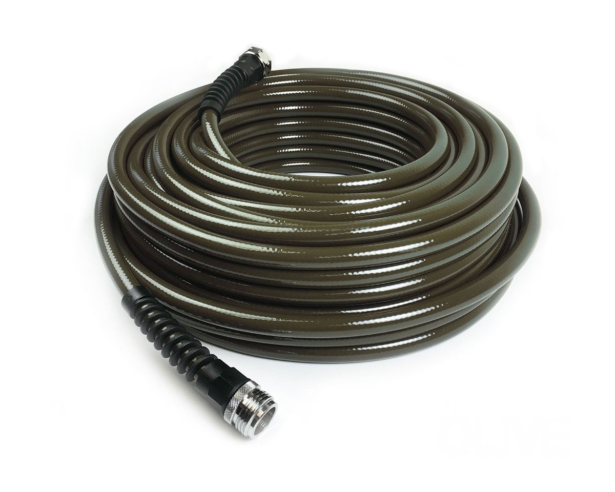Water Right 400 Series Polyurethane Slim & Light Drinking Water Safe Garden Hose, 100-Foot x 7/16-Inch, Stainless Steel Fittings, Olive Green, USA Made by Water Right
