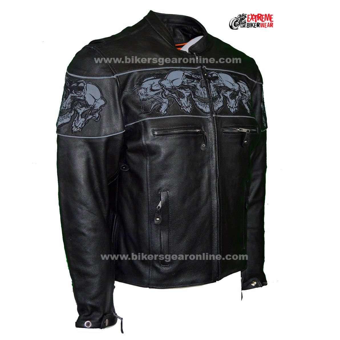 Dream Men's Motorcycle Riding Blk Reflective Skull Leather Jacket Big Sizes Upto 10xl (6XL Regular) by Dream (Image #3)