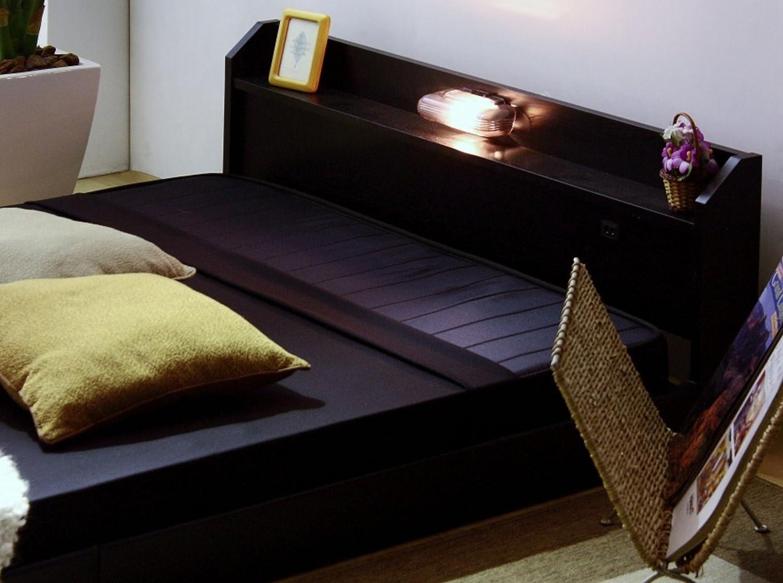 ■日本製■棚付きベッド 照明付フロアベッド 宮付きベットフレーム □セミシングルタイプ□ (ブラック) B01NCY1EFC ブラック