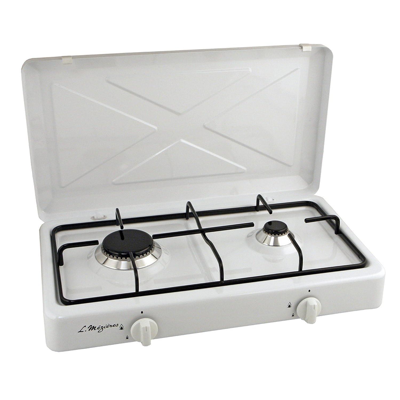 MEZIERES - Calefactor de gas butano para camping, rejilla de acero esmaltado, color blanco: Amazon.es: Hogar