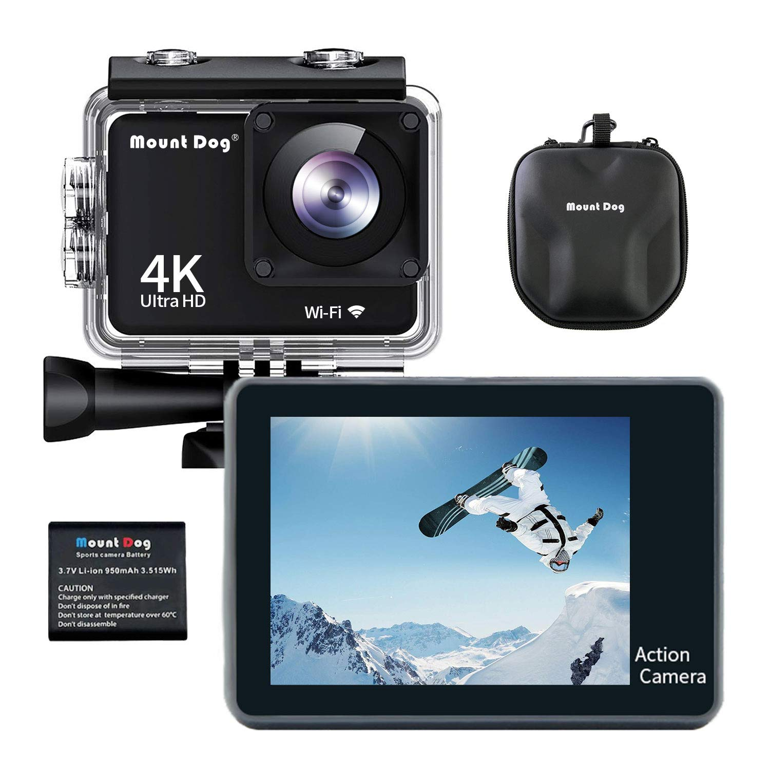 MOUNTDOG Action Camera Underwater Waterproof 30M Camera with 2'' LCD Wide Angle View 1080P Full HD Sports Action Camera with 10M WiFi Wireless Control and Portable Camera Bag