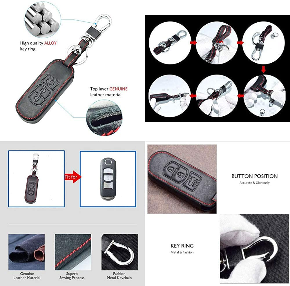 CHAMPLED For MAZDA 2 3 5 6 Axela Atenza Miata MX5 CX-5 CX5 CX-7 CX-9 Protective Car Remote Leather Skin Case Cover Holder Jacket Bag Pouch Fob Hook Protection Key Chain Key Ring
