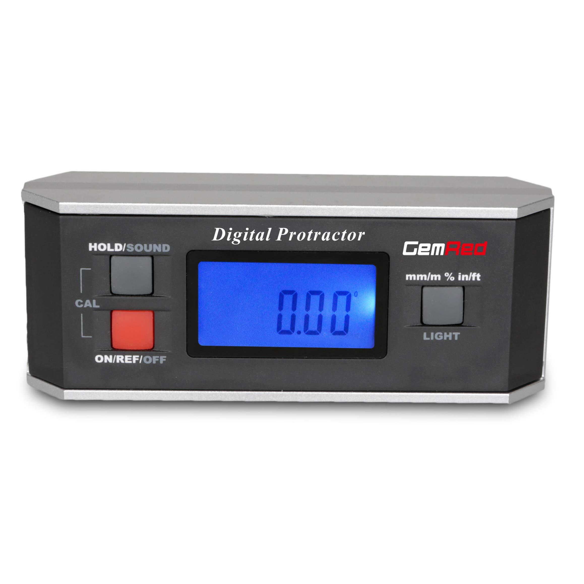 GemRed 82413 Digital Level Angle Finder Gauge Inclinometer with Backlight and Magnetic Base IP65
