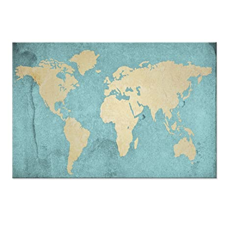 Amazon large size world map canvas prints vintage style large size world map canvas prints vintage style antique blue map of the world wall gumiabroncs Images