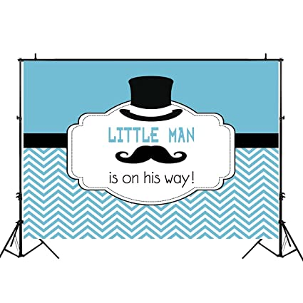 aa3b2eb4b321c Funnytree 7x5ft Durable Fabric Blue Little Man Party Backdrop No Wrinkles  Gentleman Mustache Boy Baby Shower Decorations Striped Baptism Background  ...