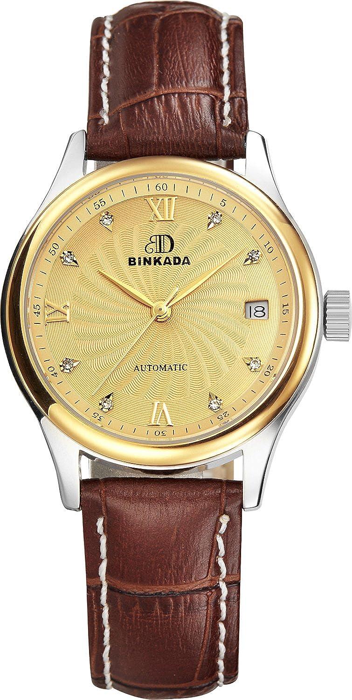 BINKADA 3ポインタ自動機械ゴールドダイヤルレディース腕時計# 7001 W04 – 5 B01DZMEUQO