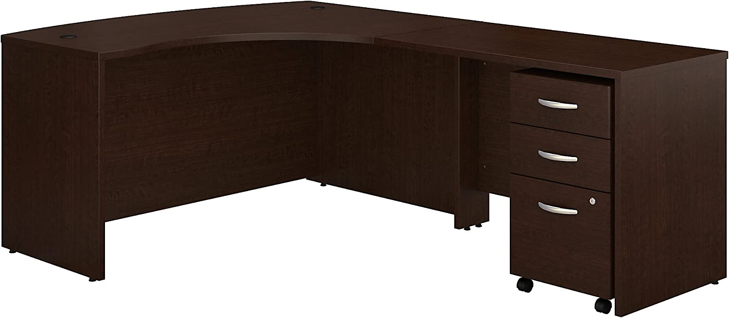 Bush Business Furniture Series C Right Handed L Shaped Desk with Mobile File Cabinet, Mocha Cherry