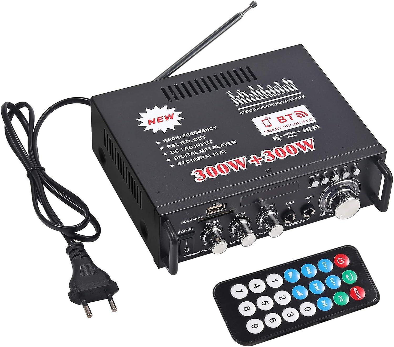 Amplificador de Audio Estéreo Bluetooth de 600 Vatios Coche Hogar HiFi Musica SD USB FM 12V / 220V