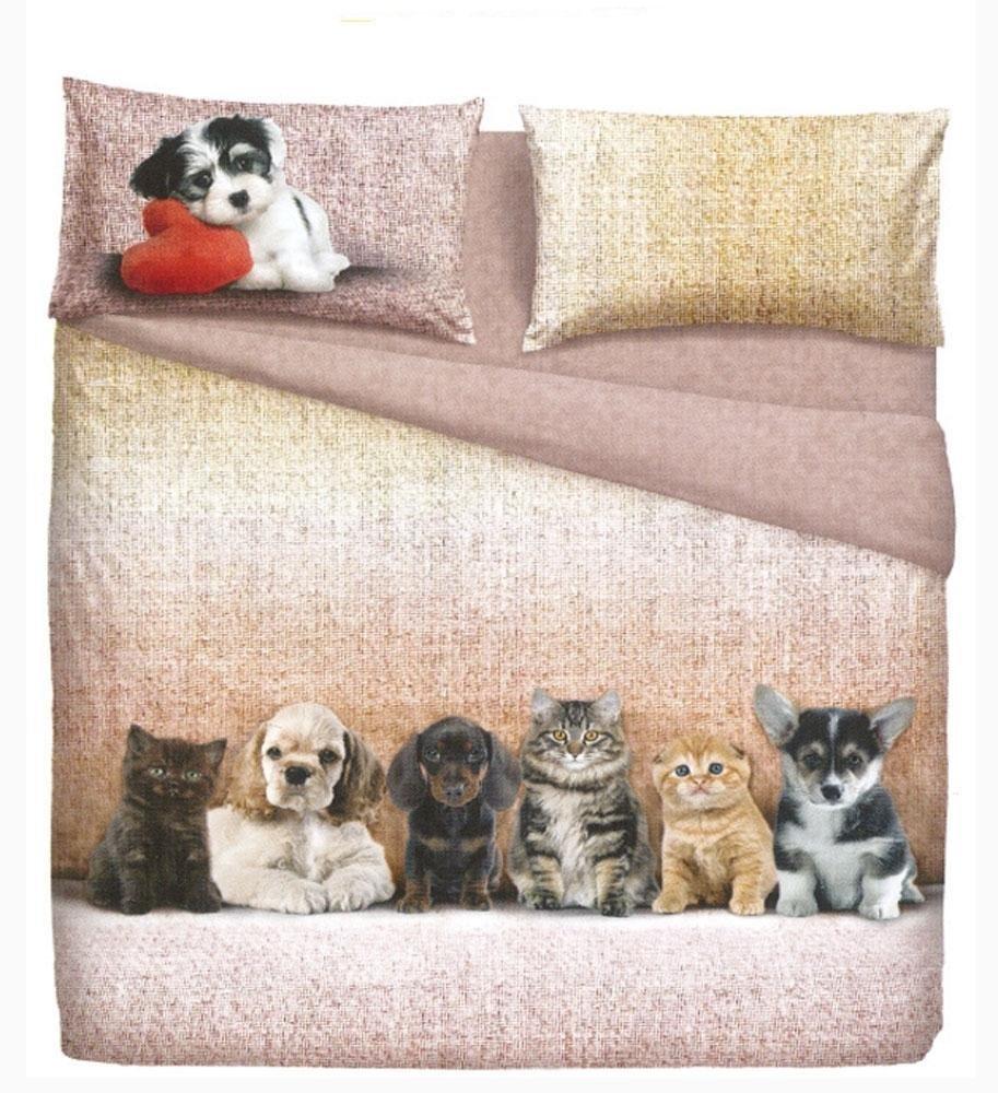Set Lenzuola Matrimoniali 2 Piazze Bassetti Dogs Cats Effetto Copriletto Casa E Cucina Biancheria Da Letto Nsb Group Com