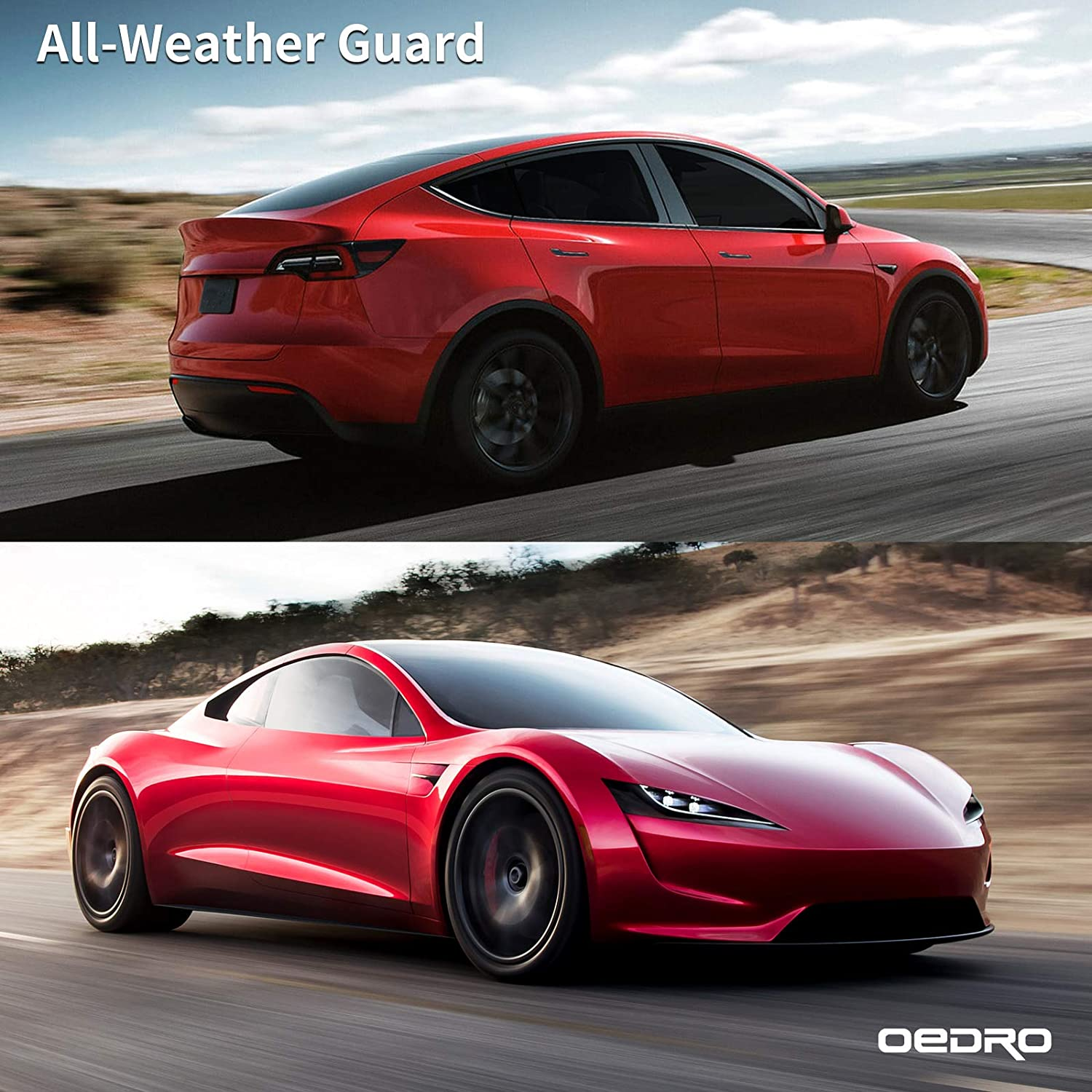 Black TPE All Weather Guard oEdRo Floor Mats Compatible with 2020 Tesla Model Y Includes 1st and 2nd Row Front /& Rear Full Set Liner
