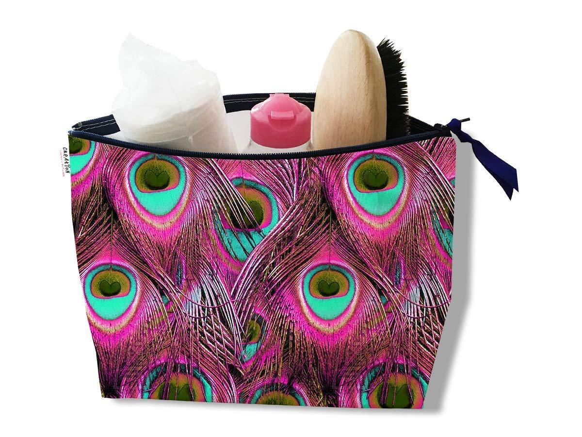 d622bfb4f89 Trousse de toilette pour femme Motif Plumes de paon coloris rose Réf. 5002   Amazon.fr  Handmade