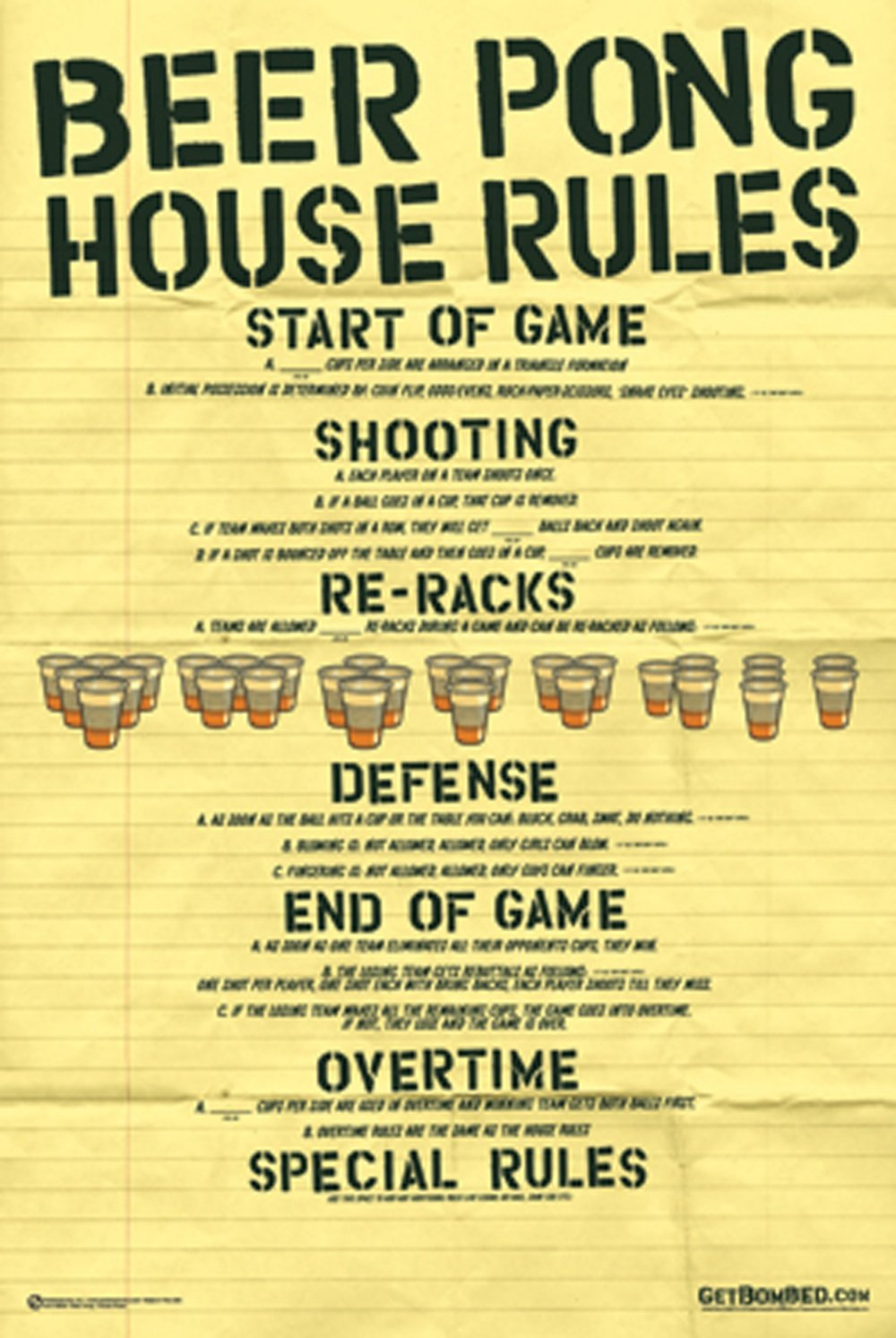 Amazon.com: NMR 88845 Beer Pong Rules Decorative Poster: Prints ...