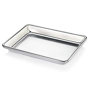 "New Star Foodservice 33977 Commercial-Grade 18-Gauge Aluminum Sheet Pan/Bun Pan, 9 2/3"" W x 6 2/3"" L x 1"" H (1/8 size)"
